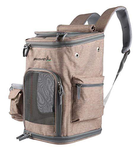Las mochilas de viaje de mascotas llevan cremalleras, pueden doblarse, adaptarse a perros, gatos, conejos, ratones, etc., animales de viaje a pie, campamentos, actividades al aire libre.Amarillo