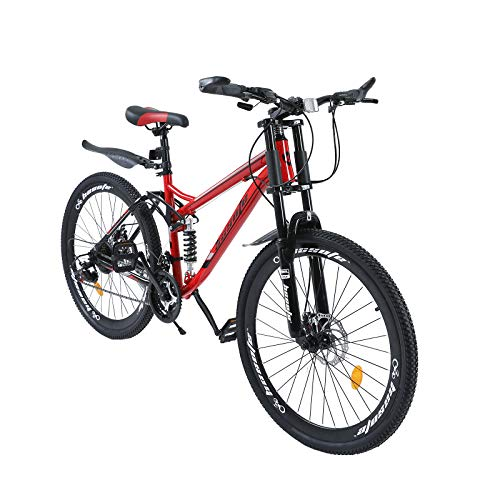 Full Suspension Mountain Bike for Women and Men, 26 inch Mountain Bicycle with Dual Disc Brakes Steel Frame, 21 Speeds MTB for Teens and Adults Black/Red