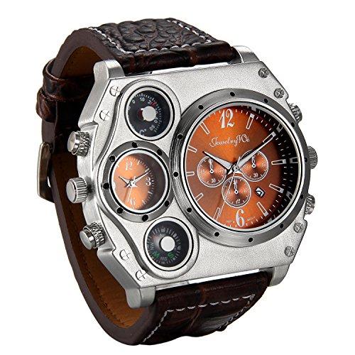 Jewelrywe Reloj Ronda Geniales Pantalla Brújula Termómetro Dual Time Dial, Regalos Dia de la Padre Originales