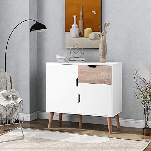 Aparador con 1 cajón y 2 puertas, armario para dormitorio/salón/comedor, 5 patas de apoyo, armario auxiliar, blanco + roble de madera (blanco, 89 x 39 x 82,5 cm)