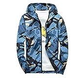 Xmiral Mäntel Herren Mit Kapuze Softshell Camouflage Wasserdichte Winddichte dünne Jacke (S,Blau)
