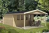 Alpholz Gartenhaus Jakob aus Massiv-Holz   Gerätehaus mit 44 mm Wandstärke   Garten Holzhaus inklusive Montagematerial   Geräteschuppen Größe: 448 x 716 cm   Satteldach