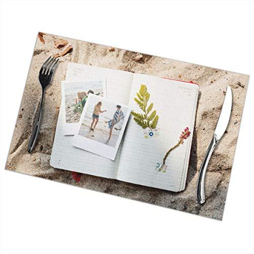 Dingl een foto op het strand Placemat wasbaar anti-slip voor keuken diner tafelmat, gemakkelijk te reinigen plaats Mat 12x18 Inch Set van 6