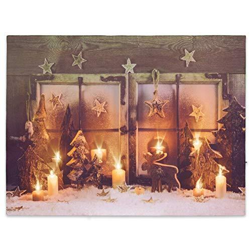 Nexos LED Wandbild Leinwandbild Beleuchtung 30x40cm X-Mas Fenster Fotodruck Kunstdruck Leuchtbild Weihnachten Batterie Winteridylle Effekt-LED