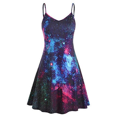 N\P Träger-Sommerkleid Plus Size Sexy Frauen Gedruckt V-Ausschnitt Ärmellos Casual Kleid Gr. L, C