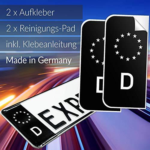 EXPRESS-HERO 2X Kennzeichen Aufkleber Nummernschild schwarz EU D Sticker Set Tuning EU Feld in schwarz inkl. 2X Reinigungstücher + Klebeanleitung