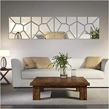 Amazon Com Multi Pieces 4 Squares Modern Design Diy Mirror Effect Wall Stickers Bedroom Living Room Wall Decor Art Self Adhesive Mirrored Stickers Mural Home Decoration Home Kitchen