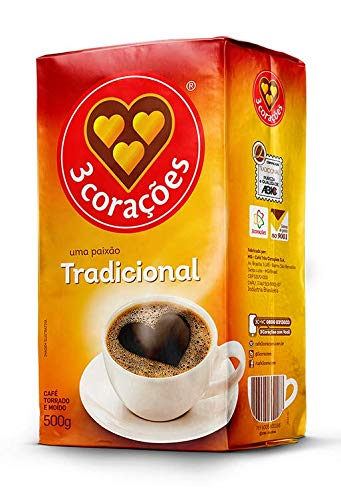 3 Coracoes Traditional Brazilian Ground Coffee - 500 grams - Vacuum Sealed Pack of 2 - Fine Ground Coffee Medium Roast - Naturally Processed for Unique Flavor, Aroma, and Full Body Texture