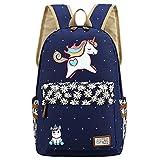 Kid's Girls Floral Animal Cartoon Funny School Backpack Cute Unicorn Shoulder Bag (Dark blue)