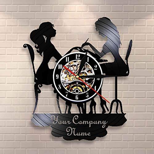 YINU, salón de SPA Personalizado, Letrero de Pared de Negocios, decoración de Pared, salón de uñas, personificó su Nombre, Reloj de Pared con Registro de Vinilo, Reloj de Arte de Moda Polaco