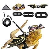 HACRAHO Arnés y correa de dragón barbudo, 7 piezas de arnés de correa de lagarto Juego de arnés de correa de dragón barbudo con hamaca de ala, sombrero con bandera nacional y paquete de 3 correas