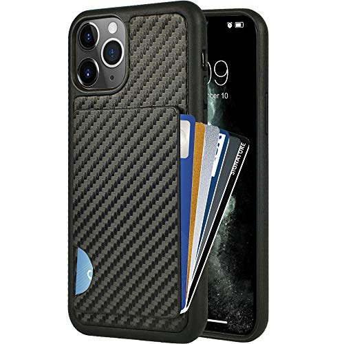 iPhone 11 Pro Wallet Case, iPhone 11 Pro Card Holder Case, ZVEdeng Credit Card Holder Card Clip Case Carbon Fiber Wallet Slim Card Grip Money Pocket Shockproof Case for Apple iPhone 11 Pro 5.8'' Black
