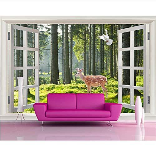 Meaosy op maat behang 3D ramen houten tv achtergrond huisdecoratie woonkamer slaapkamer muurschilderingen 3D behang 120x100cm