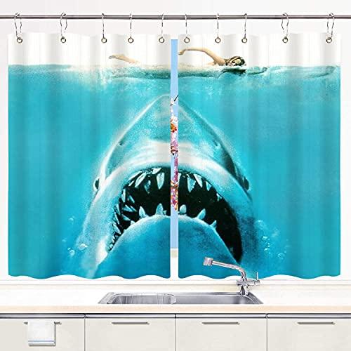 "NISENASU Kitchen Curtain,Funny Shark Beach Nautical Jaws Underwater Theme Ocean Animal,Waterproof Kitchen Window Curtains Window Drapes 2 Panel Set with 10PCS Hooks,55""x39"""