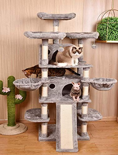 Amolife 68 Inch Multi-Level Cat Tree/X-Large Size Cat Tower with Cozy Perches, Stable for Large Cat/Gig Cat in Light Grey