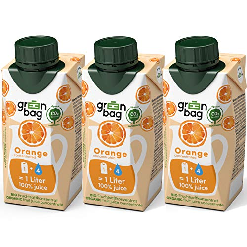 Green-Bag Bio Orangensaft Konzentrat zum Selbermischen mit Wasser - 3x 200ml Fruchtsaftkonzentrat = 3l Fruchtsaft aus frischen Orangen   100% natürlich Frucht Saft ohne Zucker Saftkonzentrat Getränk