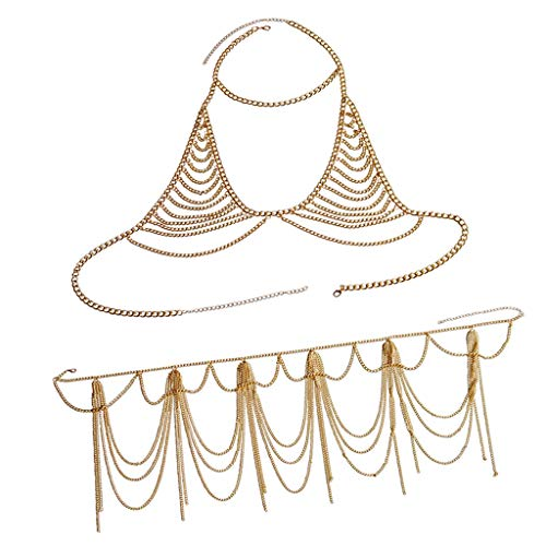 IPOTCH Mehrschichtige Kette Sexy Bikini Schmuck Badeanzüge Halskette Zubehör für Sommer Badeanzug - Golden