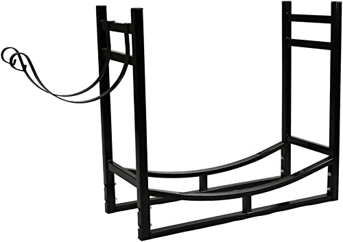 discount Sunnydaze Firewood Rack with Kindling Holder - new arrival Indoor or Outdoor Fireplace Log Rack Firewood Holder for Wood Storage - 33 Inch Wide new arrival x 30 Inch Tall, Black outlet online sale