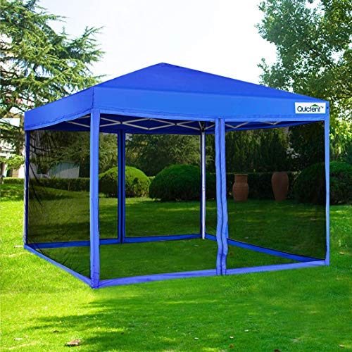 Quictent 10x10 Ez pop up Canopy Tent with Netting Screen House Mesh Screen Walls Waterproof Wheeled Bag (Royal Blue)
