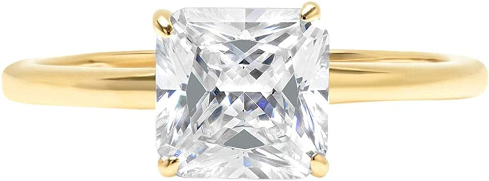 2.5 ct Brilliant Asscher Cut Solitaire Genuine Moissanite Flawless Ideal VVS1 D 4-Prong Engagement Wedding Bridal Promise Anniversary Ring in Solid 14k Yellow Gold for Women