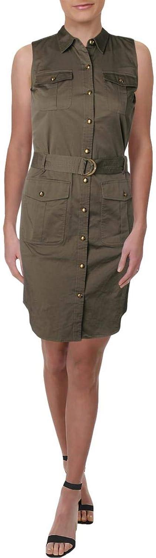 Lauren Ralph Lauren Womens Petites Utility Sleeveless Shirtdress
