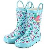 landchief Kids Rain Boots, Waterproof Rubber Rainboots with Easy-On Handles, Boys & Girls, US9 Toddler, Heart