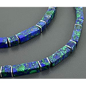 Azurit Malachit-Collier, Würfel und Rechtecke mit Sterling Silber, Edelsteinkette
