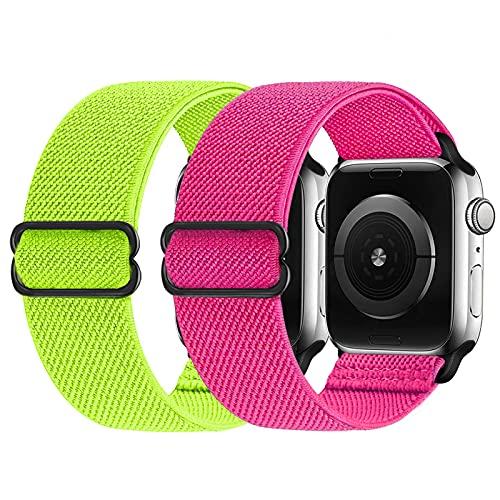 2 Pezzi Cinturino elastico compatibile con cinturino Apple Watch 38mm 42mm 40mm 44mm, cinturino di ricambio in nylon morbido per iWatch Series 6, 5, 4, 3, 2, 1, SE (rosa rossa/giallo, 38/40mm)