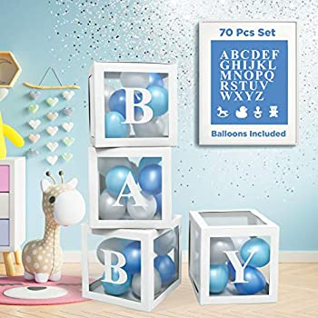 Baby Shower Decorations For Boy - 70 PCS KIT Baby Boxes With Letters For Baby Shower | 4 PCS ABC Baby Letter Blocks 32 Balloons 4 Gender Reveal Party Icons and 26 Alphabet Letters for Baby Boy Shower Decorations