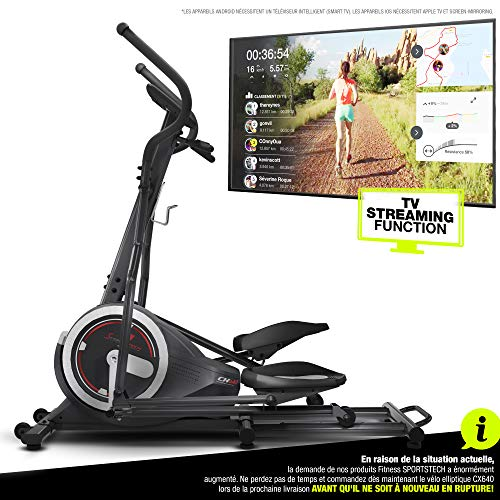 Sportstech Vélo elliptique d'Appartement CX640 Compatible Application Smartphone, avec Video Events & Multiplayer APP, Volant d'inertie 24 KG, 26 programmes d'entraînement avec Fonction HRC