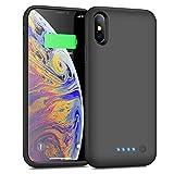 iPhoneX/XS/10 対応 バッテリーケース 6500mAh バッテリー内蔵ケース 軽量 大容量 充電ケース iPhonexs/x/10 対応 ケース型バッテリー 急速充電 コードレス 5.8インチ専用 battery case(ブラック)