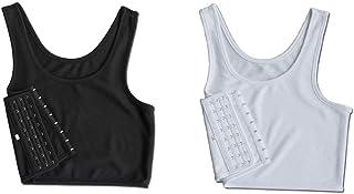 ملابس داخلية برباط صدر وبلوزات خفيفة بدون أكمام وحمالة ومشّد صدر بخطاف جانبي يسمح بالتنفس Small amzBomcomi12253