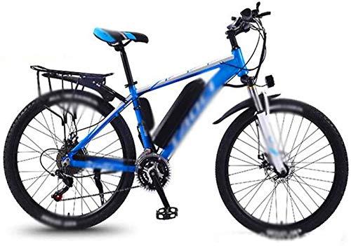 WJSWD Bicicleta de nieve eléctrica de 26 pulgadas, bicicleta eléctrica de 36 V/13 A, cambio de potencia, bicicleta de montaña, ciclismo, viajes, trabajo, batería de litio para adultos (color: azul)