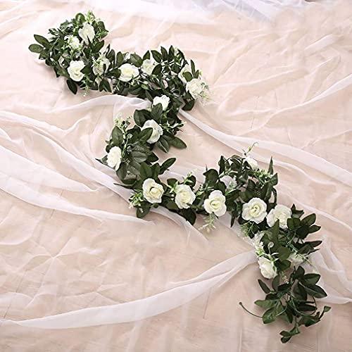 Künstliche Blumen, Blumenkunst, Getrocknete Blumenstrauß, Lannu 2 Pack Künstliche Rose Vine FlowersFake Girlande Efeu Blume Seide Hängende Girlande Pflanzen für Haus Hochzeitsdekorationen, (Creme)