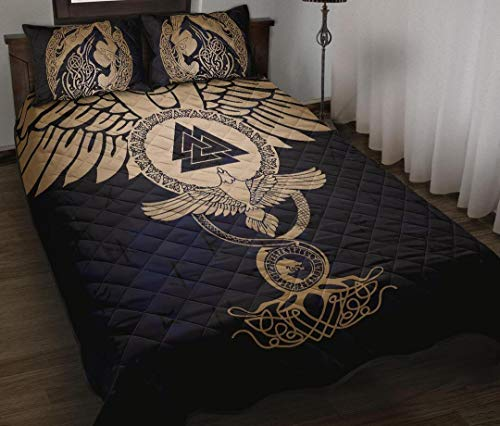 Viking Quilt Bedding Set, Wolf Celtic Galaxy Quilt Bedding Set Birthday Thanksgiving Gift for Dad Mom Husband Wife Kids Son Daughter Quilt King Queen Twin Throw Size All Season Comfortable
