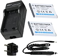 Battery (2-Pack) and Charger for Ricoh WG-20, WG-30, WG-30W Waterproof Digital Camera