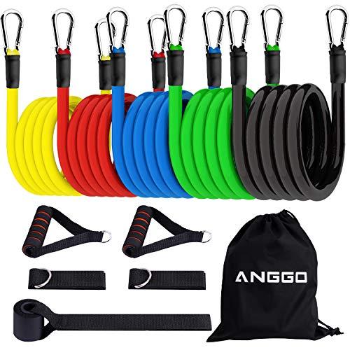 ANGGO Resistance Bands Fitnessbänder Set Widerstandsbänder, Indoor/Outdoor Workout Bands mit Türanker & Griffen für Fitness, Kraft, Schlank, Yoga, Heim-Fitnessgeräte für Männer/Frauen (5 Color 2)