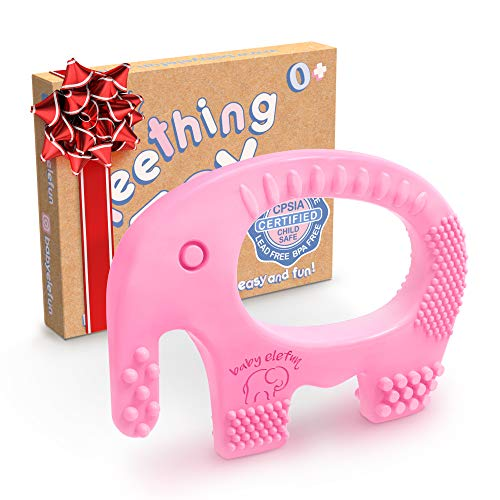 Baby Girl Teething Toys - BPA Free Silicone Toy - Cute, Easy to Hold, Soft and Highly Effective Elephant Teether - Unique Teethers Best for Girls Christmas Gifts, Stocking Stuffers