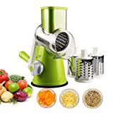 Romote 1 Set Manual Rotary Cheese Graters Vegetable Mandoline Slicer Fruit Cutter Cheese Shredder Rotary Drum Grater with 3 Stainless Steel Rotary Cutters (Green)