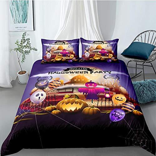 Prinbag Juegos de Ropa de Cama 3D Halloween Horror Calabaza Linterna Estampado Funda nórdica Funda de Almohada Fondo Negro Textiles para el hogar 135x200cm