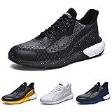tqgold Zapatillas Deporte Hombre Mujer Deportivas Zapatillas de Trail Running Ligero Zapatos para Casual Gimnasio Correr Sneakers Athletic Transpirables(Talla 46EU, Negro Blanco)