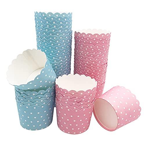Moldes de Papel para Magdalenas 100 Piezas Moldes Magdalenas Horno en Lindo Ideal Hornear Pasteles 5 x 6 x 4,7 cm - Rosa & Azul Puntos
