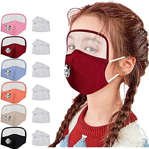 Gokeop 6Pcs Kids Face and Eyes Protection with Breathing Valve Covering Face and Mouth Suitable for Boys and Girls, with 12Pcs Filter Pads, PM2,5 Face Covering (Blue,Black,Red,Orange,Pink, Beige)