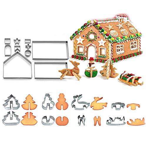 18 PCS 3D Christmas House Cookie Cutter Set