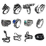 Magitaco 12Pcs Vintage Punk Rings for Men Adjustable Dragon Snake Rings Alloy Cool Rings Gothic Rings for Men Women