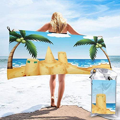 Toalla De Playa De Secado Rápido Casa De Arena De Playa De Dibujos Animados Microfibra Impresa Toallas De Baño Ligeras Adecuado para El Hogar Niños Y Adultos Camping Natación Yoga-27.5'X55'