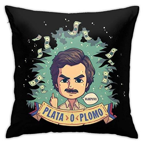 N \ A Plata O Plomo Pablo Escobar Narcos Funda de almohada, impresión de doble cara, funda de almohada con cremallera oculta, hermosa funda de almohada de 45,7 cm