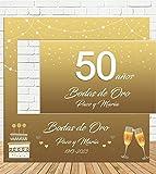 Tu Fiesta Mola Mazo Photocall y Cartel de Boda de Oro 100x100cm| Divertido y económico|Detalle de Boda| Hazte Unas Fotos Divertidas de Boda| Personalizable