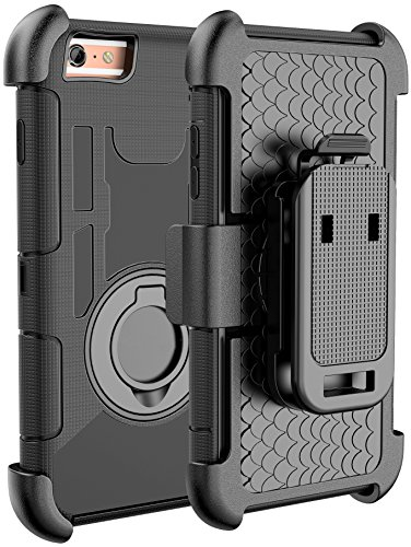 E LV iPhone 6S Case iPhone 6S Holster Defender Case Armor Holster Defender Case Cover with Kickstand and Belt Swivel Clip for iPhone 6S iPhone 6 (Black Circle)