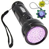 HQRP 390 nM 51 UV LED Ultraviolet Saliva/Sperm Identification Flashlight/Blacklight + HQRP UV Meter